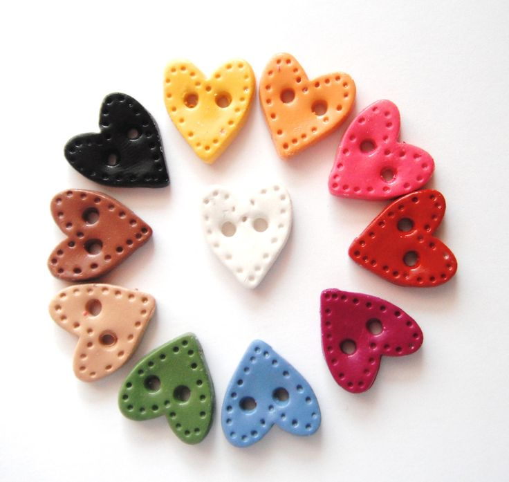 Button Country Colored Sitched Hearts handmade by digitsdesigns, $8.00