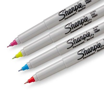 Sharpie Color Burst Permanent Markers, Ultra-Fine Tip, 4ct - Multicolor Ink,