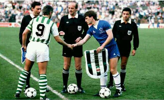 Everton 3 Rapid Vienna 1 in May 1985 in Rotterdam. The captains,  Hans Krankl and Kevin Ratcliffe, meet before the Euro Cup Winners Cup Final.