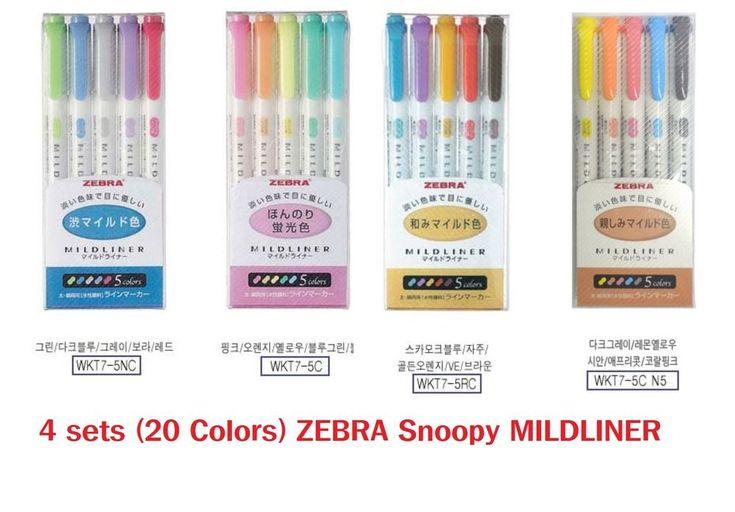 4sets(20 Colors) JEBRA MILDLINER Snoopy Limited Edition Double-Sided Highlighter #JEBRA