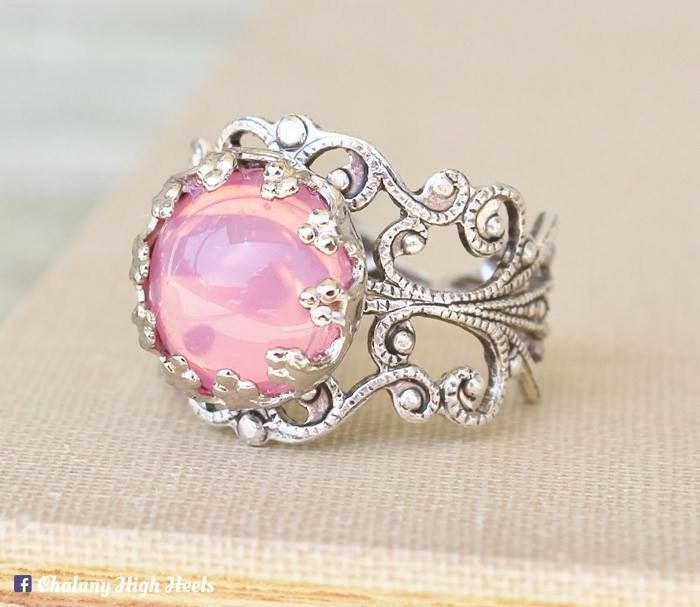 Gorgeous pink opal ring