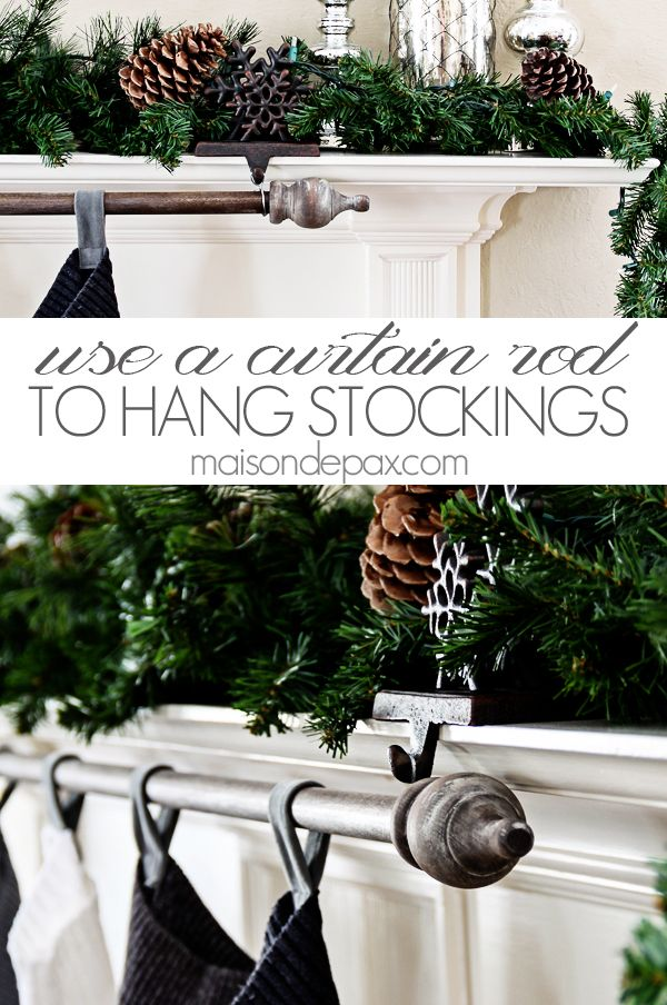 classy and affordable diy stocking hanger curtain rods command hooks and mantle shelf. Black Bedroom Furniture Sets. Home Design Ideas