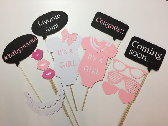 Pink Shower Phot Booth Props/ Ribbons and Pearls Check out this item in my Etsy shop https://www.etsy.com/listing/224875726/13-piece-bows-and-pearls-baby-shower
