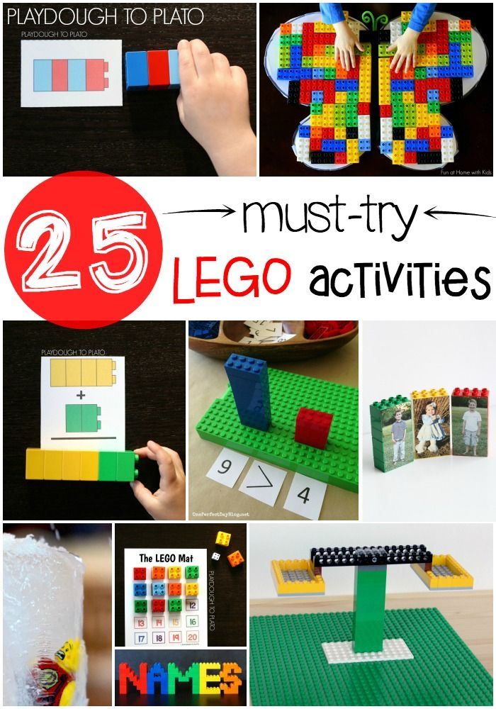 25 Must Try LEGO Activities. Hands-on math, literacy, engineering and science activities. So many fun LEGO ideas in one spot.