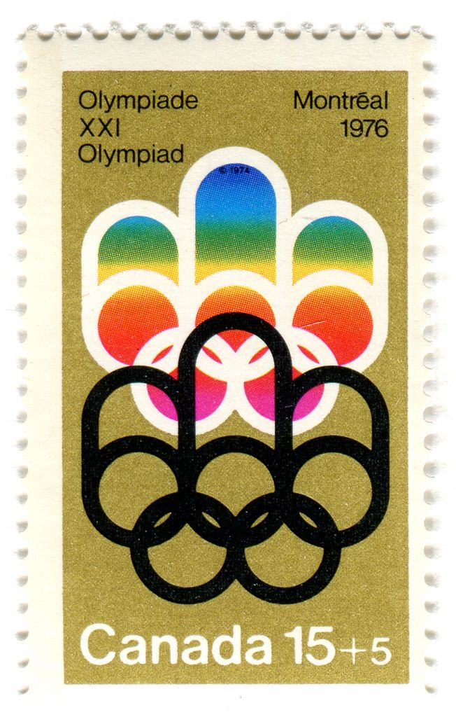 https://flic.kr/p/7DqVnQ | Canada Postage Stamp: 1976 Olympics in Montreal | depicts Olympic logo for Montreal Games designed by Georges Huel  c. 1974  more stamps in collection: vintage stamps for the Olympic Games