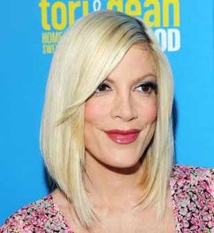 "If you want some fun swish to your hair like Tori Spelling's cut, ask for an ""A-line"" cut that's a little shorter in the back than in the front (about a 1-1/2-inch difference if you wanna get specific). This little disconnect adds a dash more pizzazz to an already pretty terrific look."