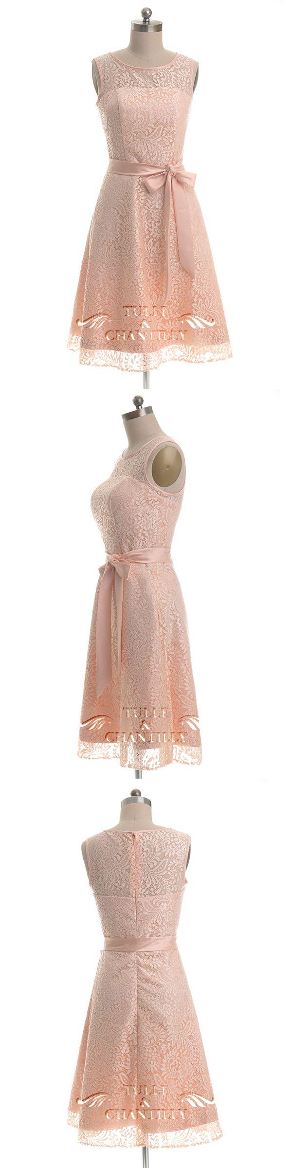 shot lace peach bridesmaid dresses with belt 2016