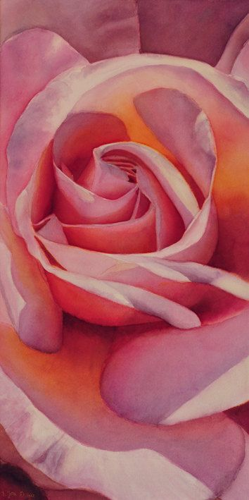 Pink Rose    Original watercolor painting by Doris Joa    Size of the Image: 12x24 inch (30cm x 60 cm)    painted on stretched canvas