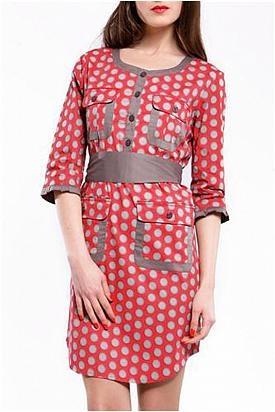 Almatrichi Flap Pocket & Button Up Polka Dot Dress - Enviius