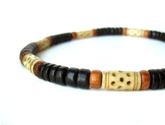 "Tribal wood necklace for men with carved bone.  ""Morocco Necklace"""