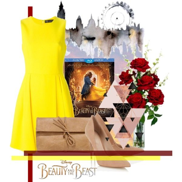 BigCity Belle by revinaangela on Polyvore featuring Versace, Lipsy, LULUS, Nearly Natural, Disney, yellow, BeautyandtheBeast, contestentry and DatingOutfit