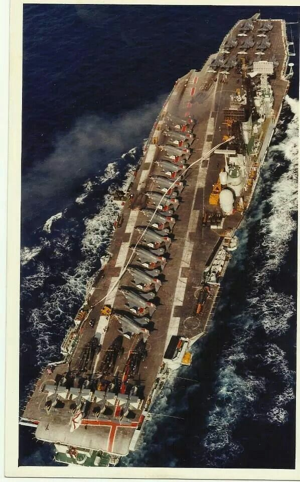 Ark Royal with Phantoms, Gannets, Wessex, and Buccaneers aboard