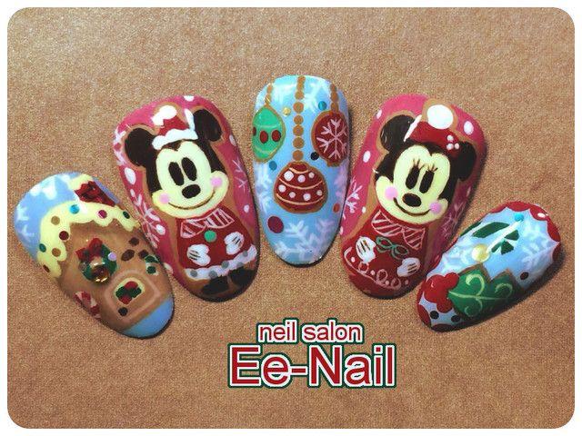 ディズニー(Disney)クリスマス☆アイシリングクッキーミッキー&ミニー : Character nail art