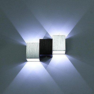 Lightess Applique Murale 2 LED 6W Lampe Carrée Corps Cubique Up Down Lampe murale Lumière pour Chambre Escalier Sallon Bureau - Blanc Froid