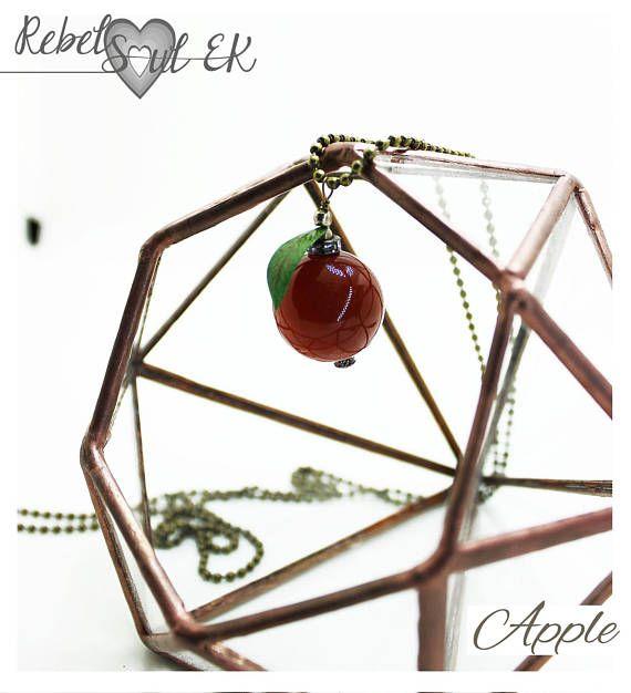 Long chain apple pendant red apple gemstone pendant agate