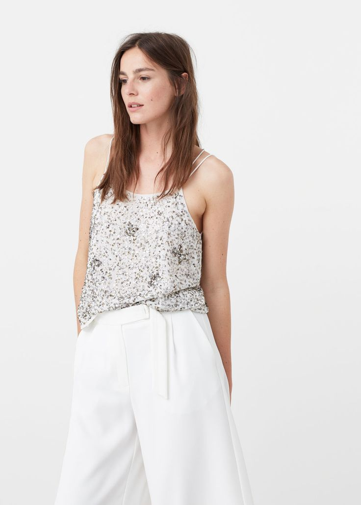 Sequined strap top | MANGO