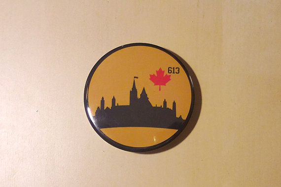 City of Ottawa Button  Parliament Hill Silhouette 613 by SaavyInc
