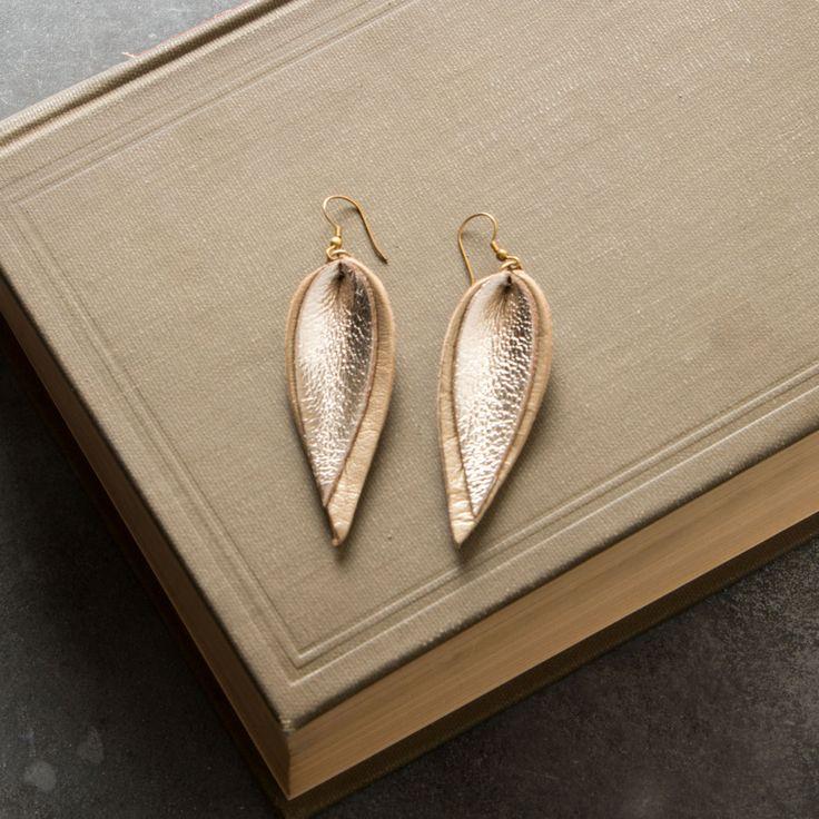 Double Metallic Leather Leaf Earrings   Magnolia Market   My Jewelry   Joanna Gaines   Waco, TX