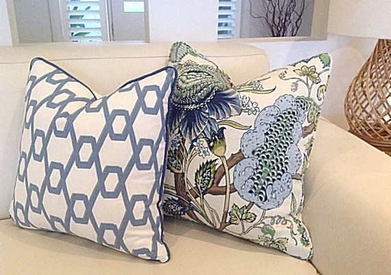 These stunning Hamptons Style cushions will compliment many decor styles. The Classic Floral Lapis Cushion has the most beautiful Blues, Greens and Cream colours. Cover Only.   The Geometric Blue, Green and Ivory works beautifully with the floral. I only have 30x50cm left in the Geometric Cushion Cover unfortunately.  If its over your budget why not ask for custom order without piping?  It has an invisible zipper and all seams are overlocked.  To minimise the cost I have used a plain Ivory…