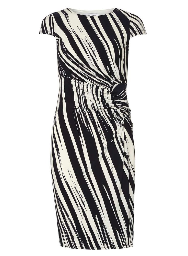 Womens **Lily & Franc Multi Coloured Abstract Side Ruched Dress- Fl Multi