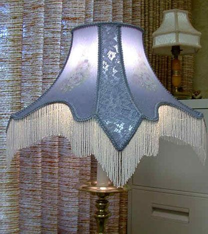 """Beautiful """"Blue Sugar"""" Crepe and Satin Victorian style beaded lamp shade with lace over the corner panels. Perfect for a floor lamp."""