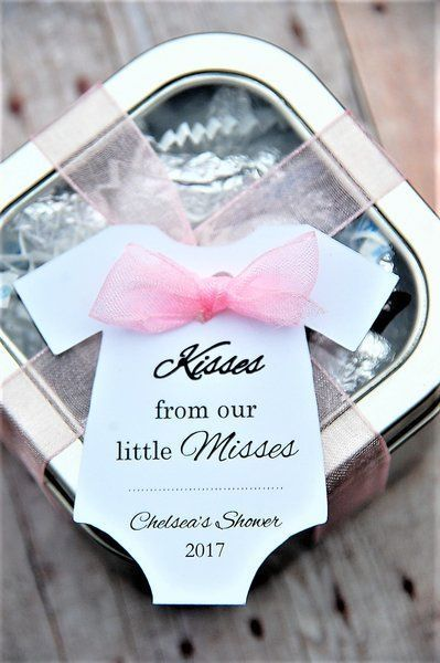 Kisses from our little Misses! These personalized onesie gift tags were a big hit at our baby shower! We put hershey kisses in a tin and wrapped them with these cute gift tags to give as thank you party favors! from www.KendollMade.com