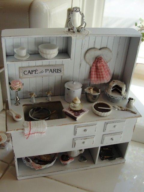 Miniature shabby sink unit  baking makes me by Kimsminibakery