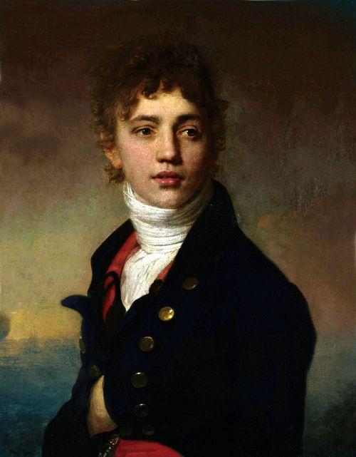Peinture romantique fran aise portrait de jeune homme en - Peinture chambre jeune homme ...