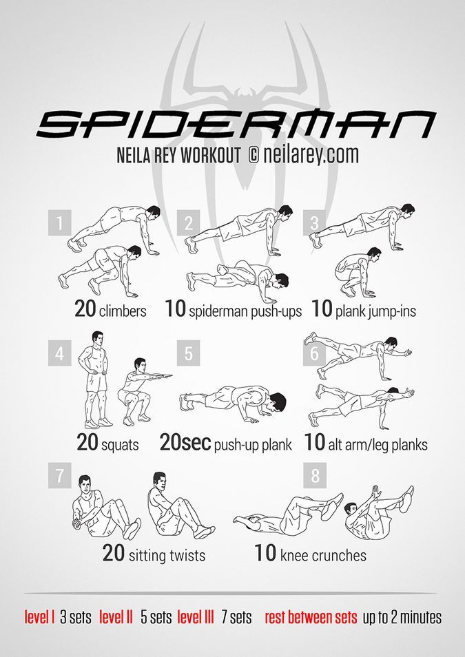 Neila Rey Spiderman Workout - Lower Abs, Upper Abs, Lateral Abs, Core, Shoulders, Chest, Triceps And Quads
