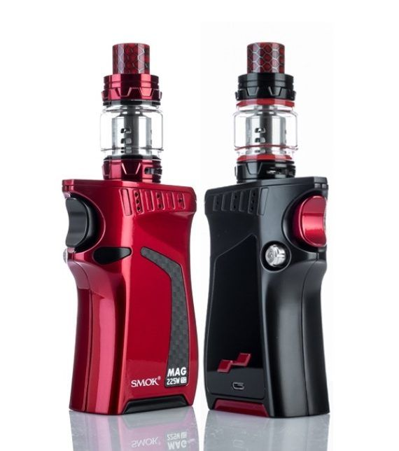 Smoktech SMOK MAG 225W Mod Kit w/ TFV12 Prince Tank (Standard Edition) SMOK MAG KIT comes with Mag mod and TFV12 Prince Smok Mag has large bright HD color screen to display detailed.data. Just pull the trigger to vape. Powered by dual 18650 batteries and max up to 225W output wattage. TFV12 Prince tank, which has an unprecedented super large capacity 8ml.