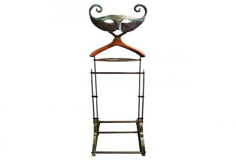 MidCentury Sculptural Hammered Copper Venetian Mask Valet   Modernism