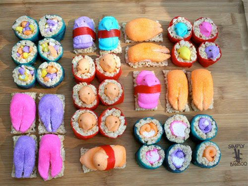 These are hilarious and maybe a little disturbing. I want to make them! I just don't think I'd eat them. I like Peeps and I like Rice Krispie Treats, but... not together. Also, Fruit Roll-ups are gross.