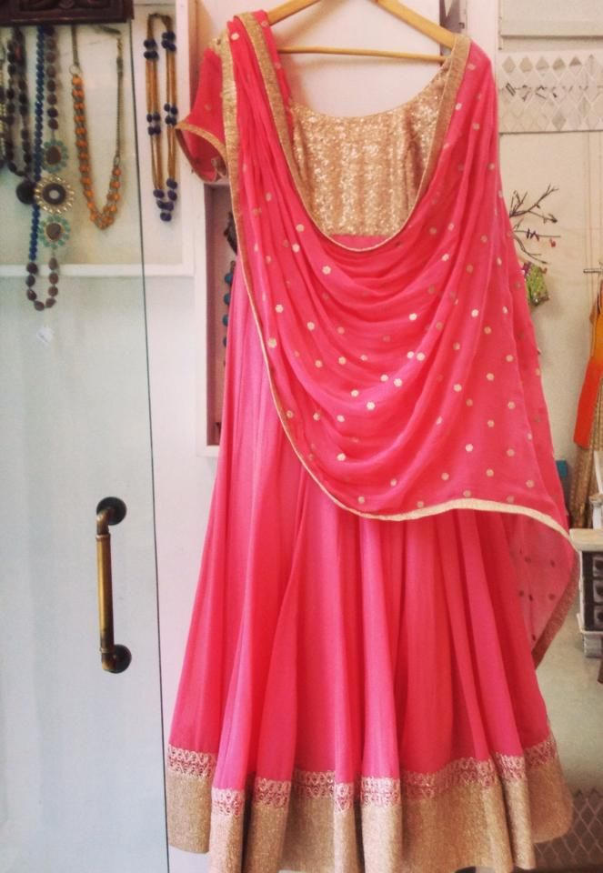 Light anarkali in fuschia pink and gold sequinned yoke with lightly embroidered dupatta