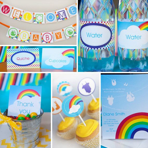 colorful baby shower decorations. Colorful Rainbow Baby Shower  Full Printable Collection Unisex Invitations and Decorations 124 best Primary Colors Party images on Pinterest Birthday party