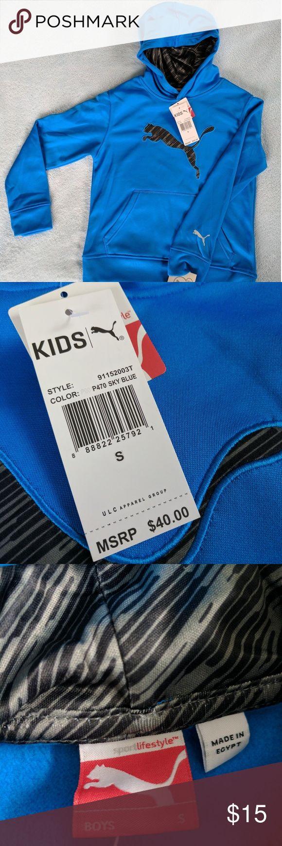 Blue Puma Hoodie Boy Size S NWT Boys' size S hooded sweatshirt by Puma. This item is brand new with tags. Puma Shirts & Tops Sweatshirts & Hoodies