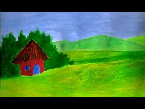 simple village hut with poster colors cometube