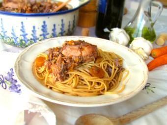 Maltese style spaghetti with rabbit sauce