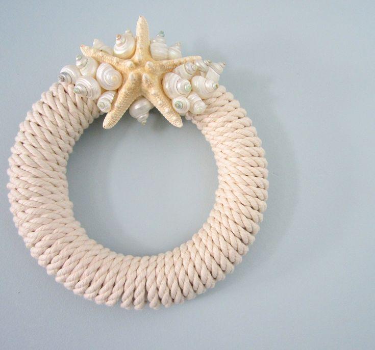 Beach Decor Starfish Wreath - Nautical Rope Beachy Wreath w White Starfish, Shells, and Nautical Roping. $64.00, via Etsy.