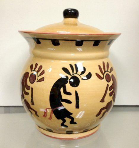 """Southwestern KOKOPELLI COOKIE Jar ceramic kitchen NEW by ACK. $25.00. Generously sized jar measures 8.5"""" H x 8"""" W. Lid has an airtight rubber gasket seal for freshness and to help prevent chipping. THE perfect way to store treats and cookies, while adding a touch of Native American artistry to your kitchen.. Made of glossy hand painted ceramic. Spice up your counter space with this gorgeous Kokopelli cookie jar.. Spice up your counter space with this gorgeous Kokopelli cookie..."""