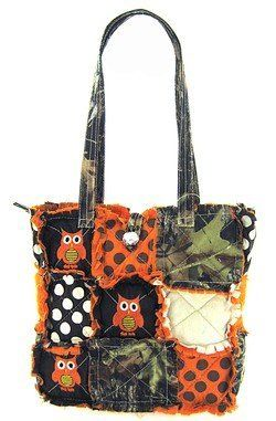 Cute! Patchwork Camo Owl Polka Dot Tote Bag Purse Orange Camouflage w/ Jewel Bling Accent,