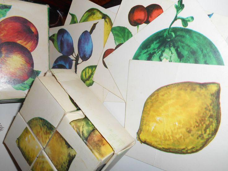 Фрукты. Кубики детские СССР - http://samoe-vazhnoe.blogspot.ru/   #кубики_фрукты