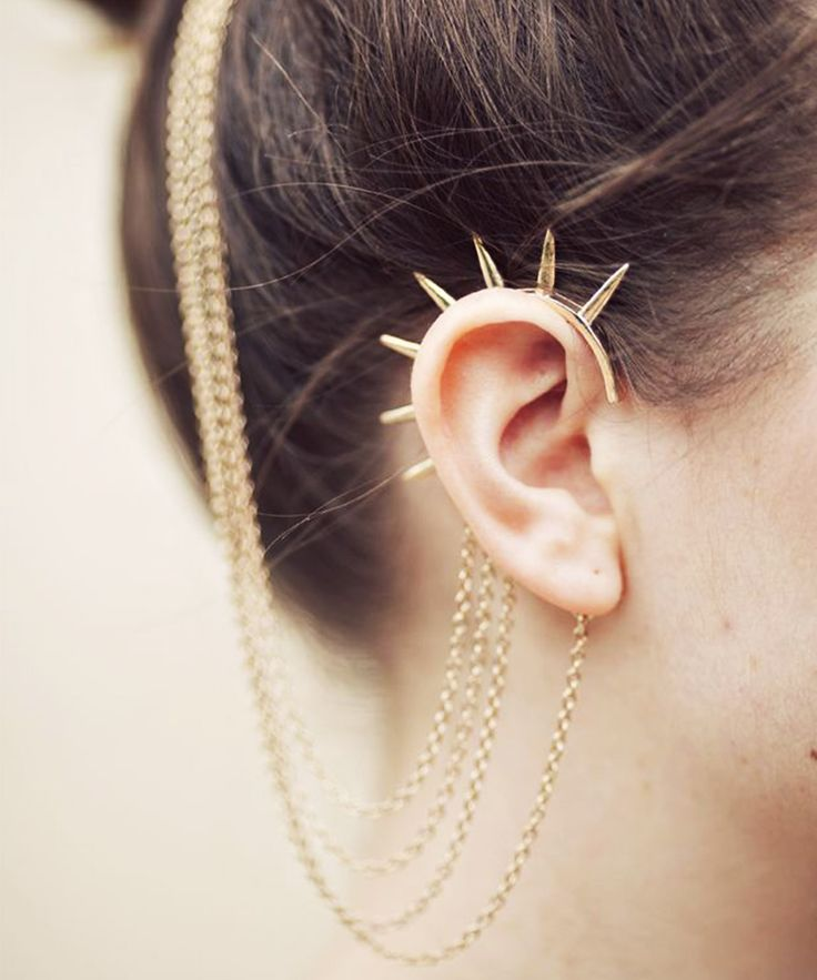 Gold Spiked Ear Cuff and Chains
