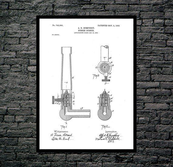 Bunsen Burner Patent, Bunsen Burner Poster, Bunsen Burner Blueprint,  Bunsen Burner Print, Bunsen Burner Art, Bunsen Burner Decor by STANLEYprintHOUSE  3.00 USD  We use only top quality archival inks and heavyweight matte fine art papers and high end printers to produce a stunning quality print that's made to last.  Any of these posters will make a great affordable gift, or tie any room together.  Please choose between different sizes and col ..  https://www.etsy.com/ca/listing/487..