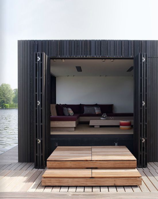 Black exterior: Lakes Houses, Boats Houses, Boathouse, Houses Doors, Pools Houses, Architecture, Black Houses, Outdoor Spaces, Piet Boone