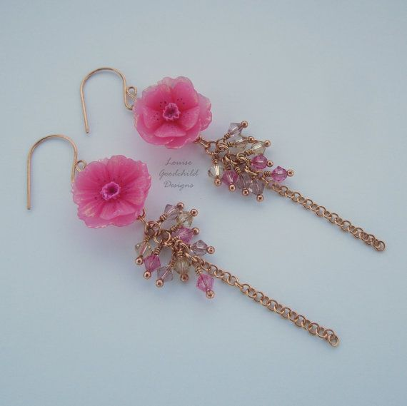Cherry Blossom bouquet earrings waterfall by LouiseGoodchild
