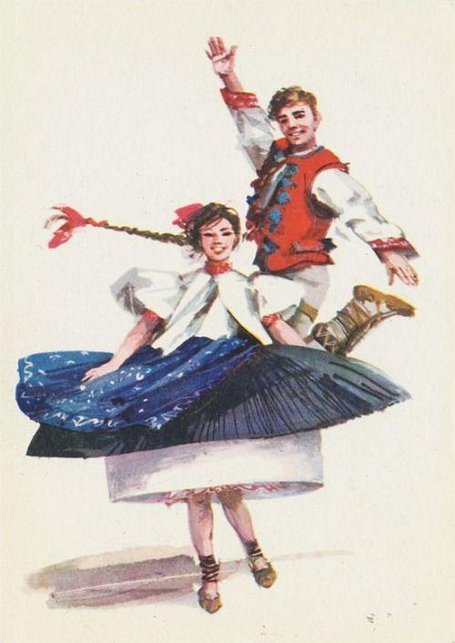 Folk costume fromBeskid Śląski (Silesian Beskids), Poland. Vintage postcard: drawing by Maria Orłowska-Gabryś.
