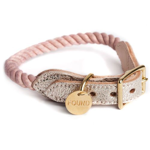 Found my Animal, Fog Rope Collar with Metallic Leather, $62,00