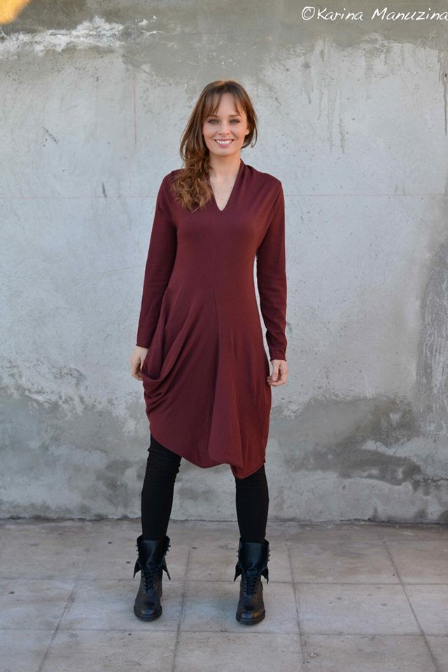 Kokomarina robe-tunique rouge vin deep red tunic dress