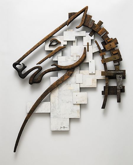 'Trojan Horse' By John Morris Tiber, paint 52 x 67.5cm x 4cm $2000 Sold