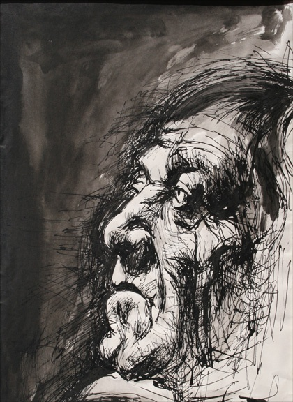 Pen & Ink drawing of Oskar Kokoschka (Drawings from the Ontario College 1973-74)